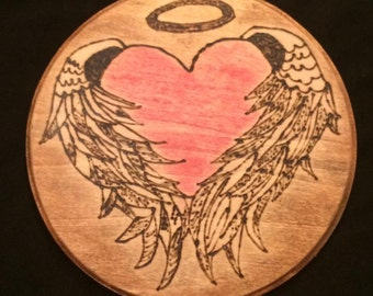 Wood Burning, Heart with angel wings