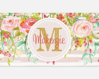 Personalized custom license plate, Car Tag, Vanity license plate, Blush Floral & Stripes Watercolor License Plate, Monogrammed License Plate