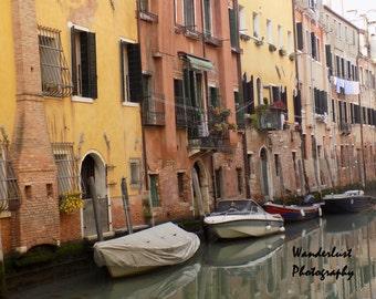 Boats In Venice Print, Venetian Italy Decor, Dreamy Travel Photography