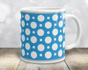 Blue Polka Dot Mug - Stylish White Blue Polka Dot Pattern - 11oz or 15oz