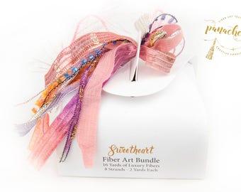 Sweetheart Fiber Art Yarn. 16 Yard Novelty Yarn, Ribbon and Art Fiber Bundle.