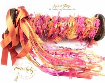 Island Tango Fiber Art Yarn. 32 Yard Novelty Yarn, Ribbon and Art Fiber Bundle.
