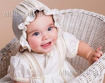 VINTAGE christening bonnet, baby girl christening hat, girls baptism hat, christening headband, girl baptism outfit, Coiffure de baptême