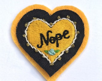 Yellow heart 'Nope' hand embroidered patch