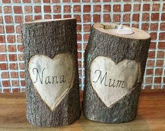 Natural wood Mother's Day tree branch tea light holder