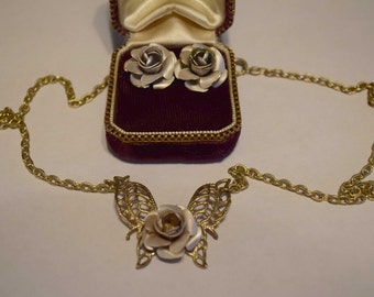 Vintage Butterfly and Rose Necklace and Earring Set