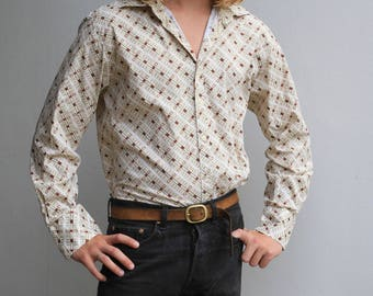 Beige Patterned 70's button down shirt