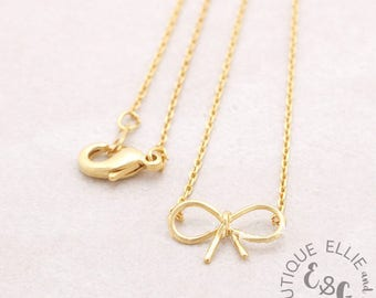 Gold Bow Necklace, Dainty Gold Bow Necklace, Gold Necklace, Bow Pendant, Pendant Necklace, Layering Necklace, Minimalist Necklace, Gold