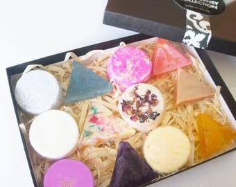Bath bomb sampler box, soap sampler box, mini bath bombs, mini soaps, sampler soaps, travel soaps