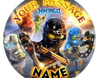 Lego Ninjago Inspired Personalised Edible Icing Print Party Decoration Cake Topper 7.5""