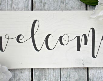 Welcome | 6x12 | rustic decor | wood sign | farmhouse | wall decor