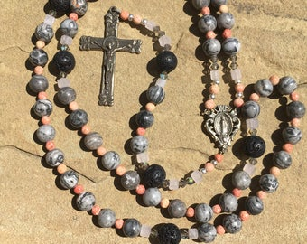 White Bronze Catholic Rosary, Map Jasper, Lava Beads, Glass beads
