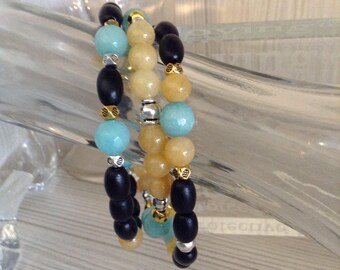 Silver/Gold accented Jade & Wood