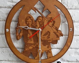 Star Wars Han Solo Clock print han solo poster luke skywalker chewbacca wood home decor han solo cosplay wall art costume art