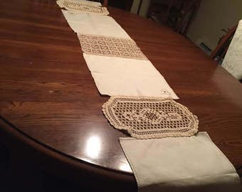 Vintage linen and lace table runner.  Made from vintage linen napkins and lace doilies.  Adds a Victorian touch to your decor.