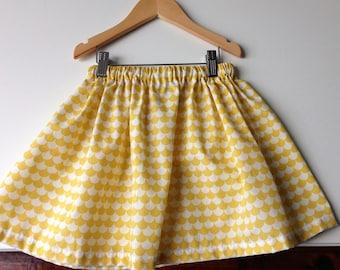 Girl yellow waves printed cotton skirt