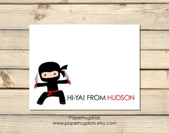 Ninja Stationery, Ninja Note Cards, Personalized Note Cards, Kids Thank You Cards, Personalized Stationery, Kids Note Cards / Set of 10