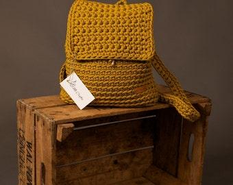 Crochet backpack, crochet rope bag, handmade backpack, women's rucksack, knitted backpack, summer backpack, mustard bag, gift for her