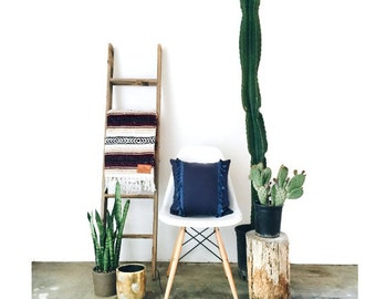Blue Navy Bohemian Tassel Throw Pillow - Designer Pillow - Accent Pillow