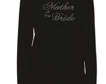 Rhinestone BRIDESMAID Lightweight Long‑Sleeve-Round Neck T-Shirt                      B4UM