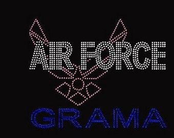 Rhinestone Air Force Grama Lightweight T-Shirt                                        YUYB