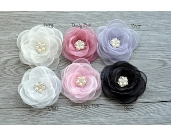 "4.3"" 6colors Newborn Gauze Layered Flower+Rhinestone For Baby Girls Hair Accessories Rose Fabric Flowers For Headbands"