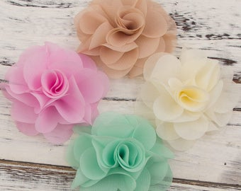 "2.6"" 20 Colors Newborn Soft Chic Chiffon Flower For Baby Girl Hair Accessories Artifcial Fabric Flowers For Headbands"
