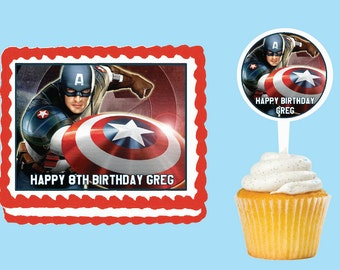 Captain America Edible Cake Cupcake Cookie Toppers Decorations  Or Plastic cupcake pick top for birthday party