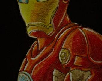 Iron Man Metallic Watercolor Print