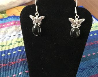 Black onyx 925 Silver Butterfly Earrings
