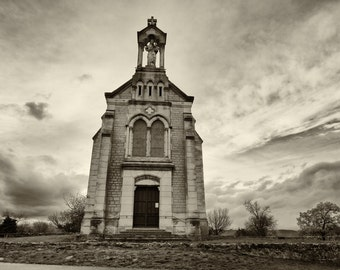 Photography black & white - Chapel of Mt. Brouilly, Beaujolais - France / Black and White Photography Fine Art Landscapes of France