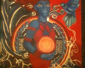 Birthing goddess tribal abstract original painting