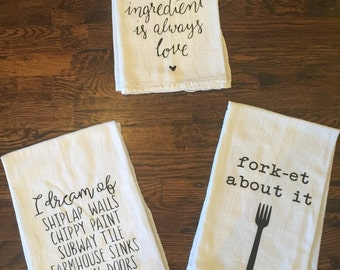 Flour Sack Towel - Set of 3 Tea Towel, Flour Sack Towel, Kitchen Towel, Gift