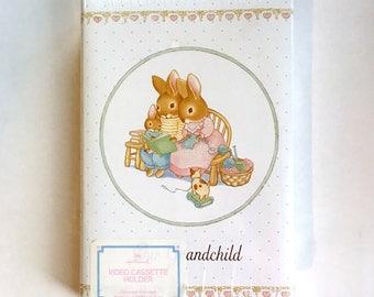 Vintage Hallmark Grandchild Video Cassette Holder-NOS-Bunny Family-Rabbits-VHS Holder-Made in USA