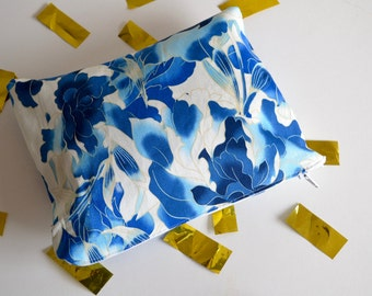 zipper pouch / L / blue blossom