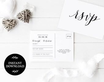 RSVP Postcard Template INSTANT DOWNLOAD, Editable pdf, rsvp Cards, rsvp Postcard, rsvp template, wedding rsvp cards - Lilly