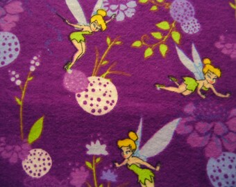 Tinkerbell Fabric Purple Flannel By The Yard 36 Inches Long