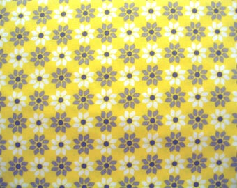 Yellow Daisy Fabric Gray Star Flowers Cotton By the Yard 36 Inches Long