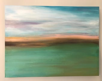 Abstract landscape on canvas by Melissa Meeks