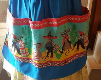 Midcentury st michaels mexican print half apron pinny 1950s 1960s