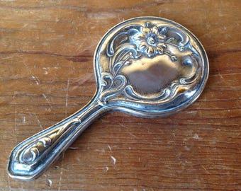 Antique Art Nouveau Mini Hand Mirror