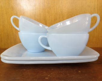 Set of 6 Vintage Azurite Milk Glass Cups and Plates