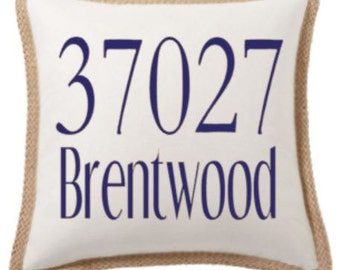 18 inch Zip Code and Town Pillow Cover