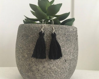 Tassel Earrings Black - Sterling Silver 925