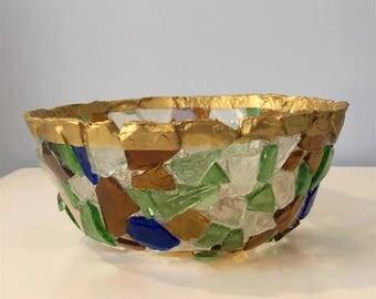 Hand-Made Maine Sea Glass Bowl