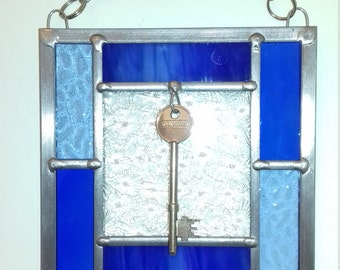 Handmade stained glass New Home gift.