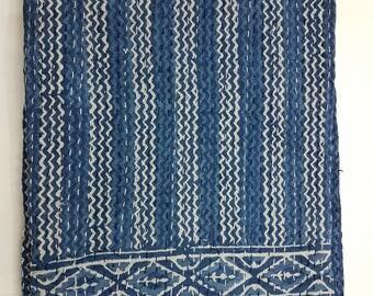 kantha quilt queen kantha throw indian quilt indian blanket kantha blanket kantha cotton fabric hand block prit