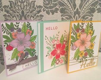 Set of 3 Handmade Hello Cards, Flowers, Stamped, Blank Inside