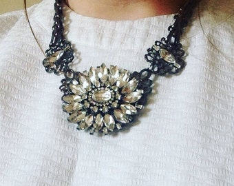 Silver Statement Necklace, Silver Flower Chunky Necklace, Silver Flower Bib Necklace, Flower Statement Necklace