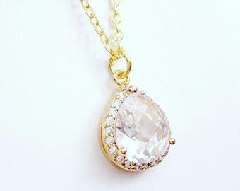 Crystal bridal necklace pendant CZ, wedding cubic zirconia necklace, Crystal jewelry, Teardrop pendant, Bridal necklace,BJ005